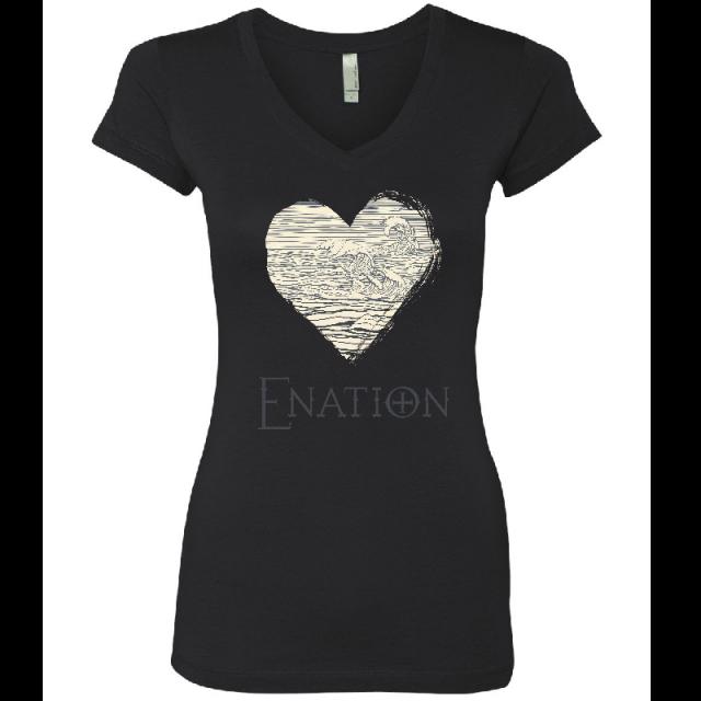 ENATION Ladies Black Heart Tee