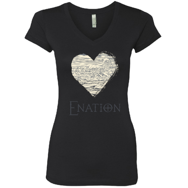 ENATION Ladies Black Heart Tee